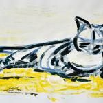 Katze - ruhend | Malerei halb abstrakt | Atelier Franiek | Gemälde und Kunst