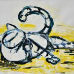 Katze – putzend | Malerei halb abstrakt | Atelier Franiek | Gemälde und Kunst