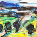 Landschaft am See | Malerei halb abstrakt | Atelier Franiek | Gemälde und Kunst