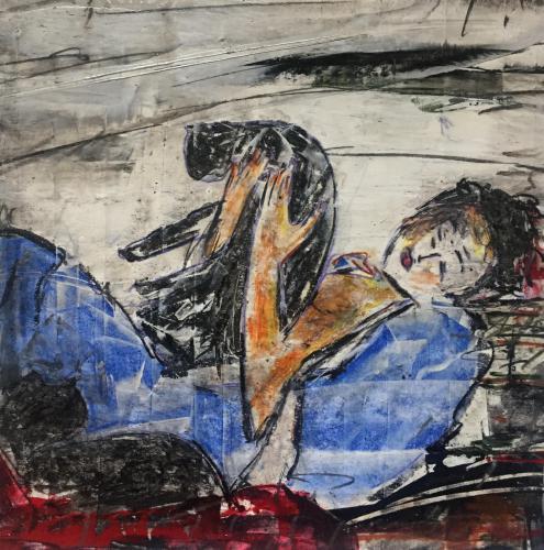 Shop: Frau mit Katzen | Malerei halb abstrakt | Atelier Franiek | Gemälde und Kunst