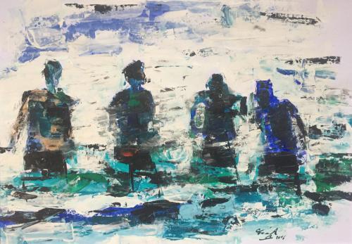 Shop: Badende | Malerei halb abstrakt | Atelier Franiek | Gemälde und Kunst