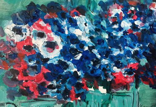 Shop: Blumen-blau | Malerei halb abstrakt | Atelier Franiek | Gemälde und Kunst